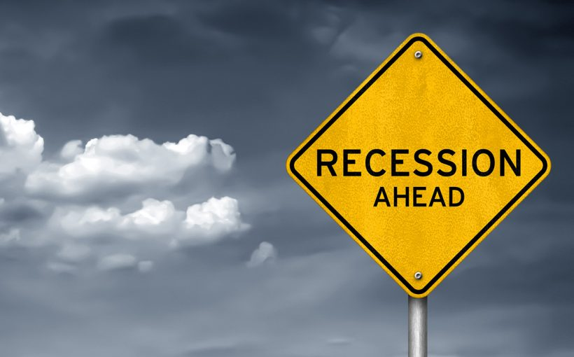 an image with recession written